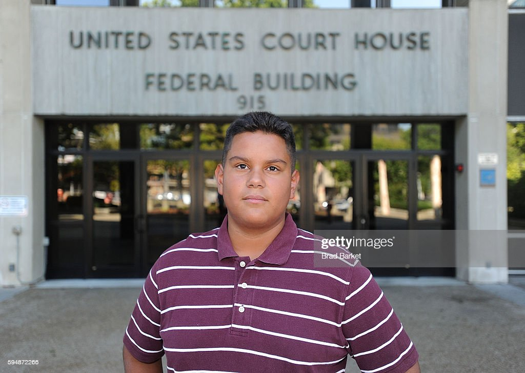 Jose Martinez a plaintiff in Martinez v Malloy pose for a photo outside the US District Court for the District of Connecticut on August 24 2016 in...
