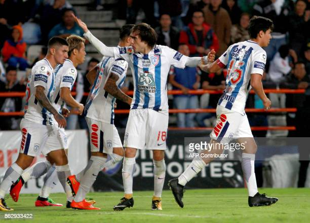 Jose Martinez of Pachuca celebrates after scoring against Toluca during their Mexican Apertura tournament football match at the Hidalgo stadium on...