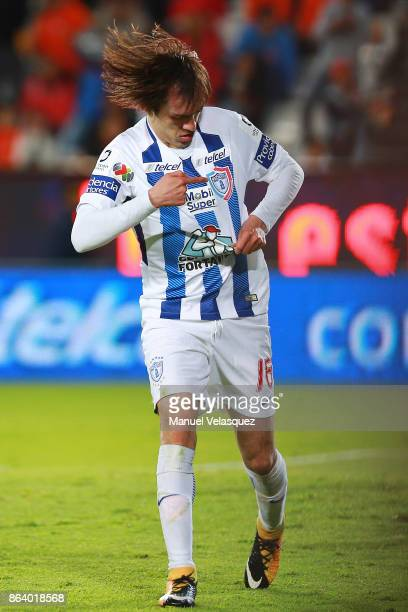 Jose Martinez of Pachuca celebrates after scoring the second goal of his team during the 10th round match between Pachuca and Toluca as part of the...