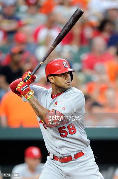 Jose Martinez of the St Louis Cardinals bats against the Baltimore Orioles at Oriole Park at Camden Yards on June 16 2017 in Baltimore Maryland