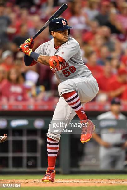 Jose Martinez of the St Louis Cardinals bats against the Cincinnati Reds at Great American Ball Park on August 5 2017 in Cincinnati Ohio