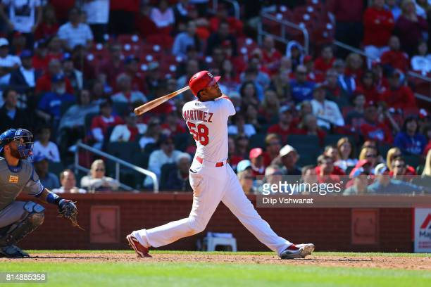 Jose Martinez of the St Louis Cardinals bats against the Toronto Blue Jays at Busch Stadium on April 27 2017 in St Louis Missouri