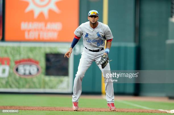 Jose Martinez of the St Louis Cardinals plays first base against the Baltimore Orioles at Oriole Park at Camden Yards on June 17 2017 in Baltimore...