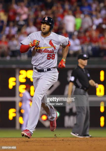 Jose Martinez of the St Louis Cardinals rounds the bases after hitting a solo home run in the eighth inning during a game against the Philadelphia...