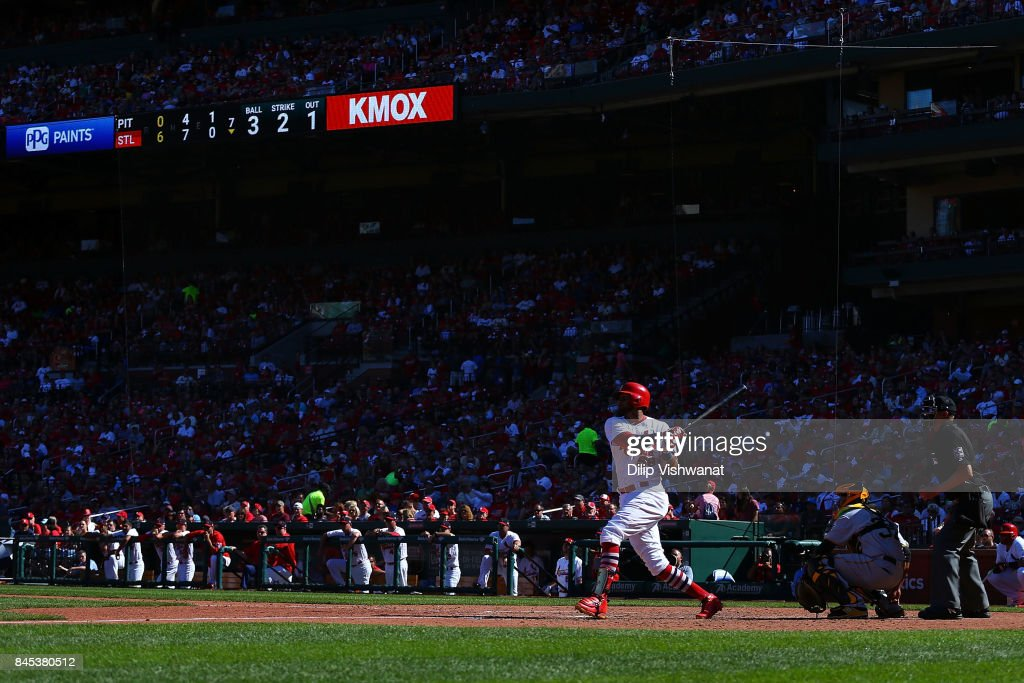 Jose Martinez #58 of the St. Louis Cardinals singles against the Pittsburgh Pirates in the seventh inning at Busch Stadium on September 10, 2017 in St. Louis, Missouri.
