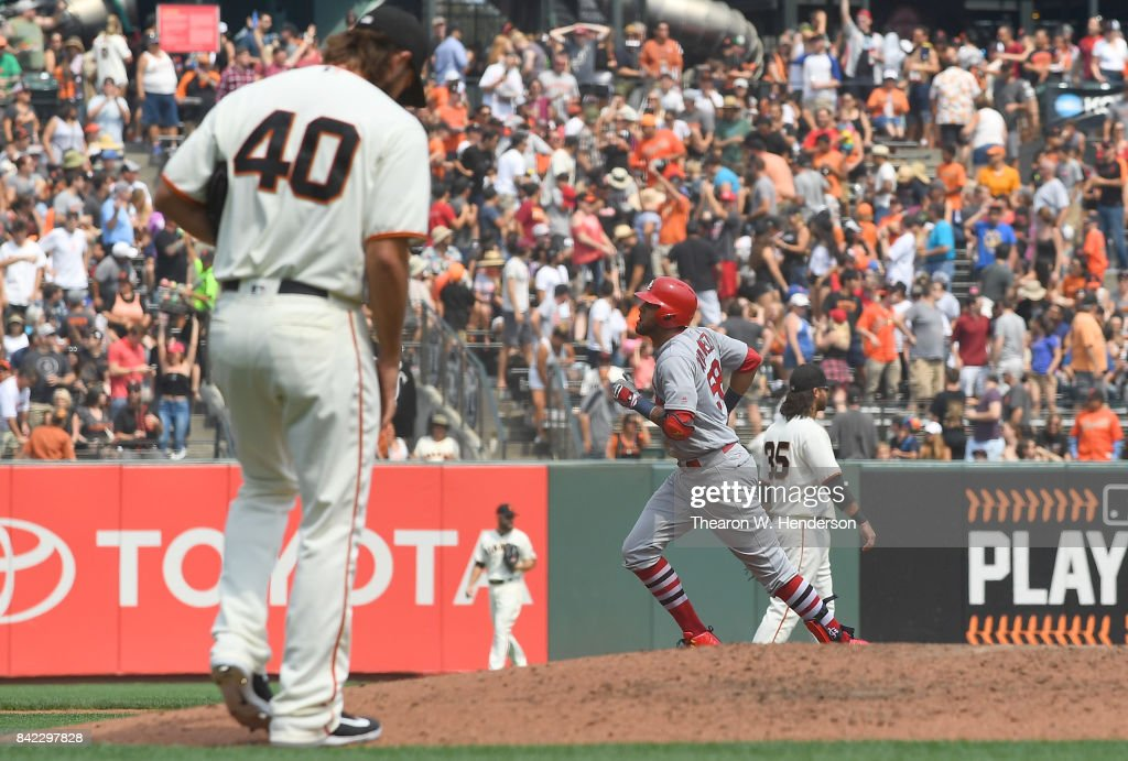 Jose Martinez #58 of the St. Louis Cardinals trots around the bases after hitting a solo home run off of Madison Bumgarner #40 of the San Francisco Giants in the top of the fourth inning at AT&T Park on September 3, 2017 in San Francisco, California.