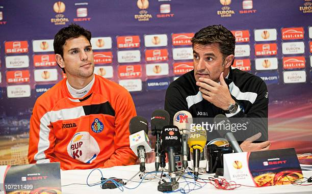 Jose Miguel Gonzalez coach of Spanish football club FC Getafe and Jaime Gavilan give a press conference in Odense on November 30 2010 Getafe is...