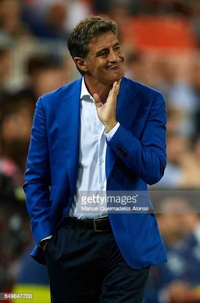 Jose Miguel Gonzalez Michel Manager of Malaga CF reacts during the La Liga match between Valencia and Malaga at Estadio Mestalla on September 19 2017...