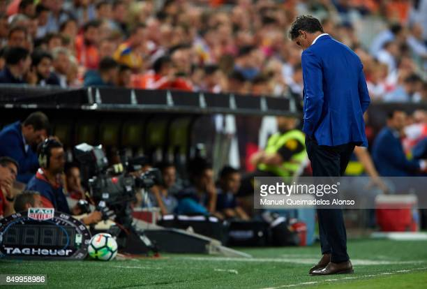 Jose Miguel Gonzalez Michel Manager of Malaga CF reacts during the La Liga match between Valencia and Malaga at Estadio Mestalla on September 19 2017...