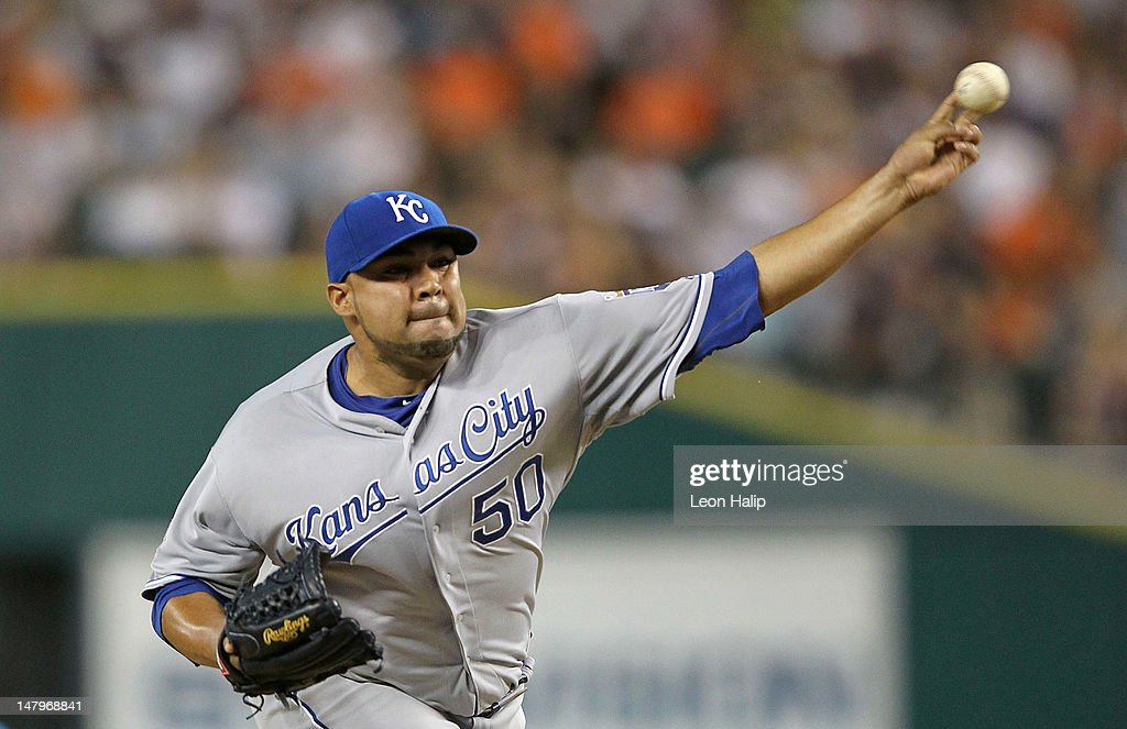 <a gi-track='captionPersonalityLinkClicked' href=/galleries/search?phrase=Jose+Mijares&family=editorial&specificpeople=835852 ng-click='$event.stopPropagation()'>Jose Mijares</a> #50 of the Kansas City Royals pitches in the sixth inning during the game against the Detroit Tigers at Comerica Park on July 6, 2012 in Detroit, Michigan. The Tigers defeated the Royals 4-2.