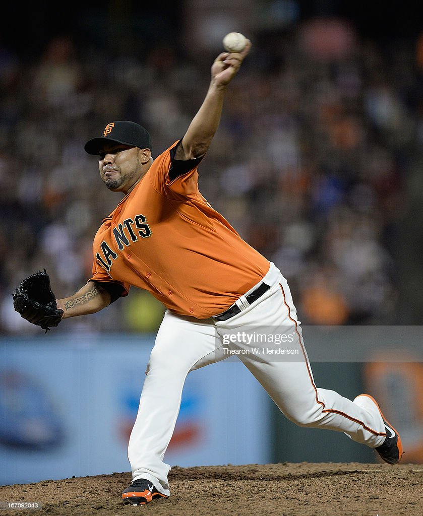 <a gi-track='captionPersonalityLinkClicked' href=/galleries/search?phrase=Jose+Mijares&family=editorial&specificpeople=835852 ng-click='$event.stopPropagation()'>Jose Mijares</a> #50 of the San Francisco Giants pitches against the San Diego Padres in the seventh inning at AT&T Park on April 19, 2013 in San Francisco, California.