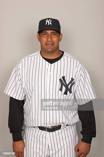 Jose Molina of the New York Yankees poses for a portrait during photo day at Legends Field on February 21 2008 in Tampa Florida