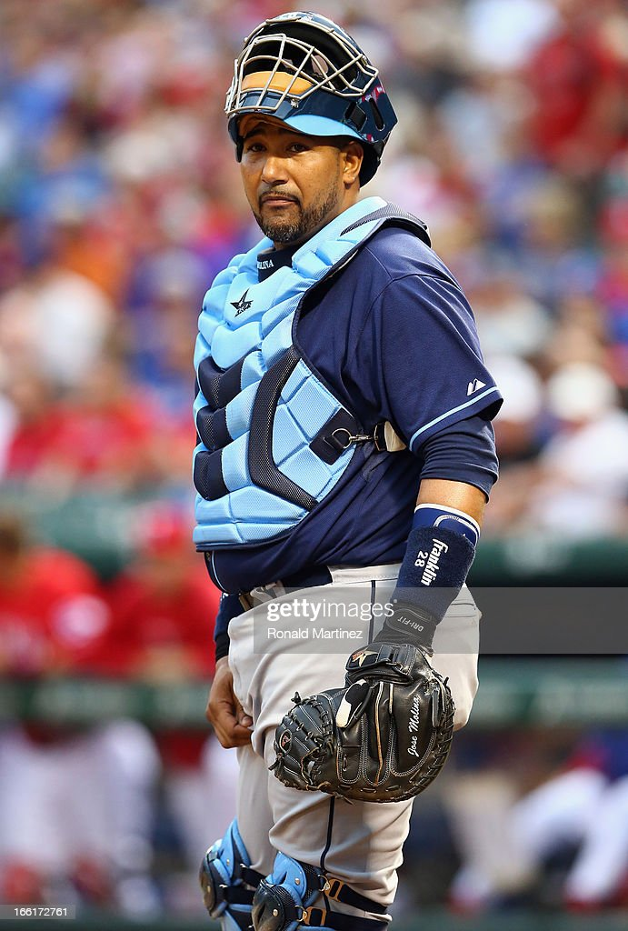 <a gi-track='captionPersonalityLinkClicked' href=/galleries/search?phrase=Jose+Molina&family=editorial&specificpeople=206365 ng-click='$event.stopPropagation()'>Jose Molina</a> #28 of the Tampa Bay Rays at Rangers Ballpark in Arlington on April 8, 2013 in Arlington, Texas.