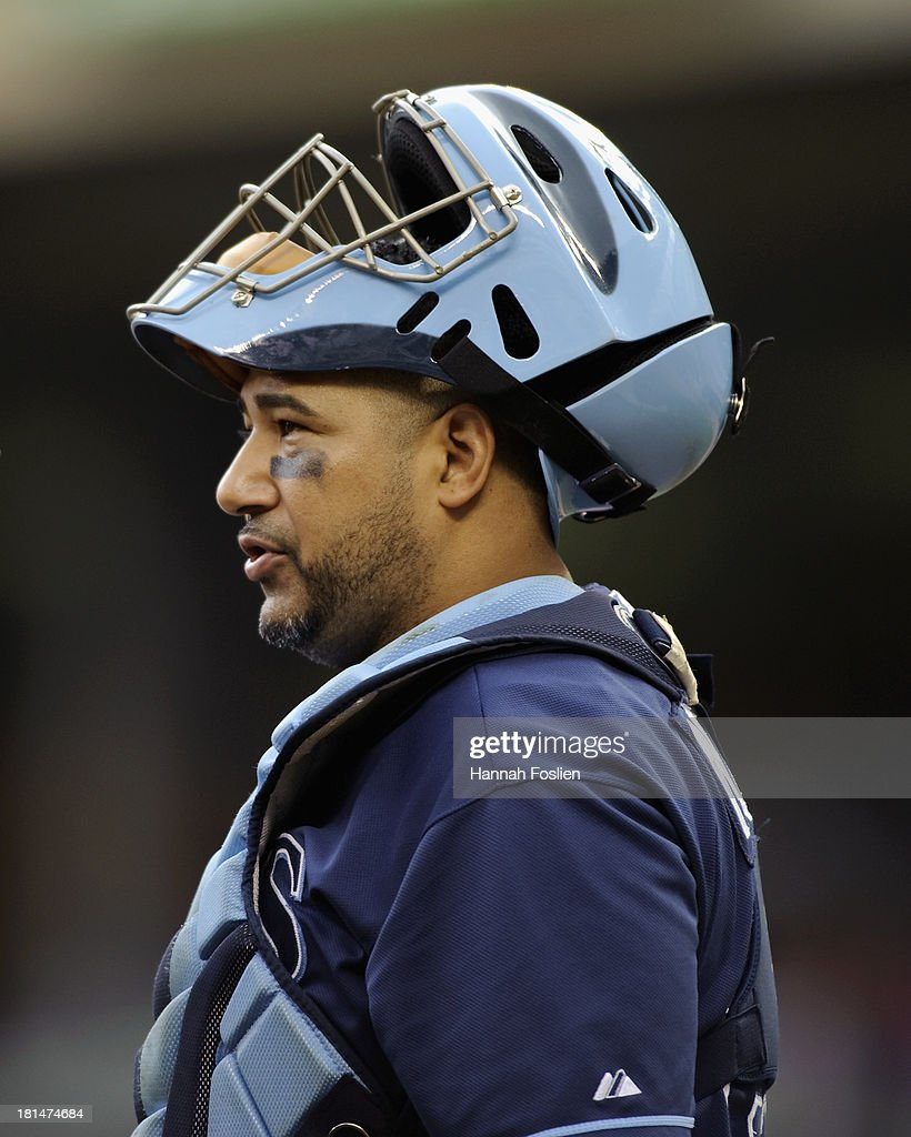 Jose Molina #28 of the Tampa Bay Rays looks on during the game against the Minnesota Twins on September 15, 2013 at Target Field in Minneapolis, Minnesota.
