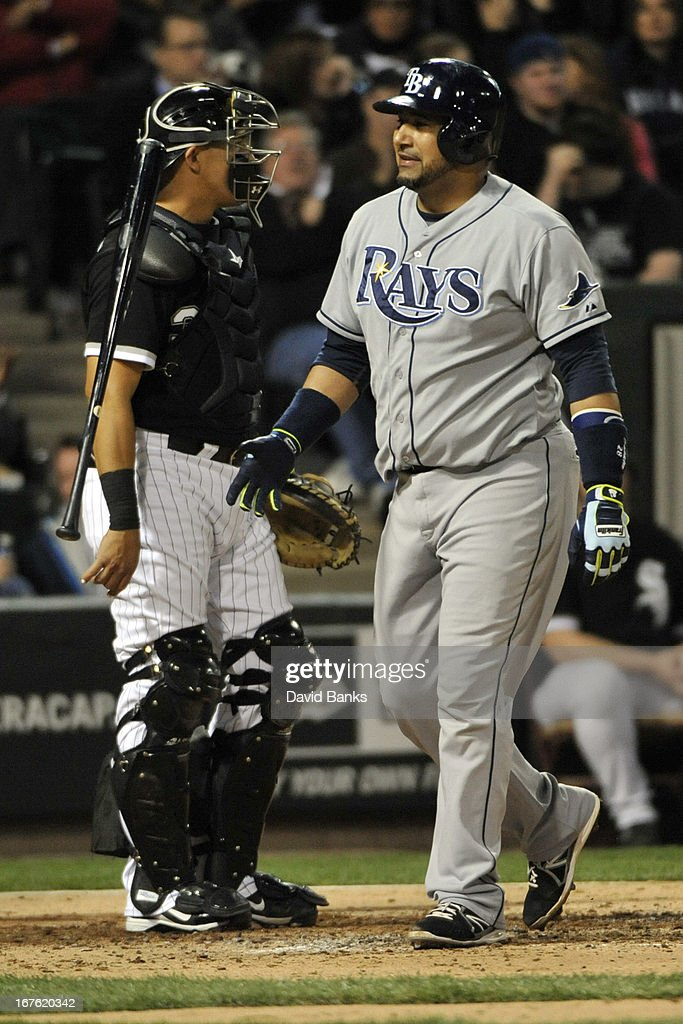 <a gi-track='captionPersonalityLinkClicked' href=/galleries/search?phrase=Jose+Molina&family=editorial&specificpeople=206365 ng-click='$event.stopPropagation()'>Jose Molina</a> #28 of the Tampa Bay Rays reacts after stirking out against the Chicago White Sox during the fourth inning on April 26, 2013 at U.S. Cellular Field in Chicago, Illinois.