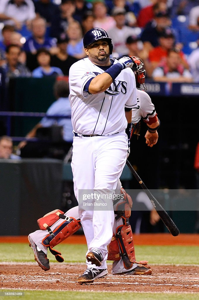 Jose Molina #28 of the Tampa Bay Rays reacts after striking out in the third inning against the Boston Red Sox during Game Three of the American League Division Series at Tropicana Field on October 7, 2013 in St Petersburg, Florida.
