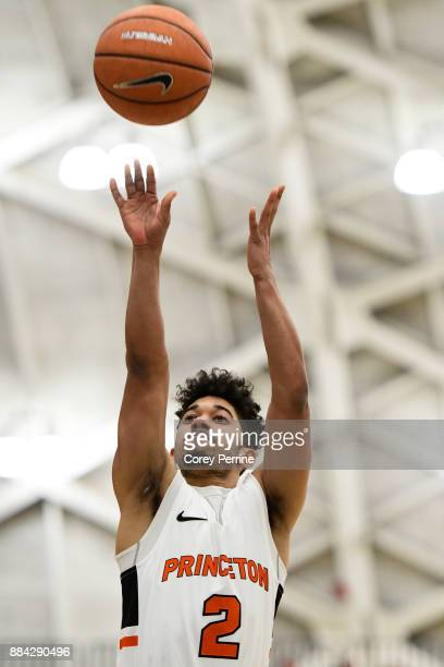 Jose Morales of the Princeton Tigers shoots the ball during the first half at L Stockwell Jadwin Gymnasium on November 29 2017 in Princeton New...