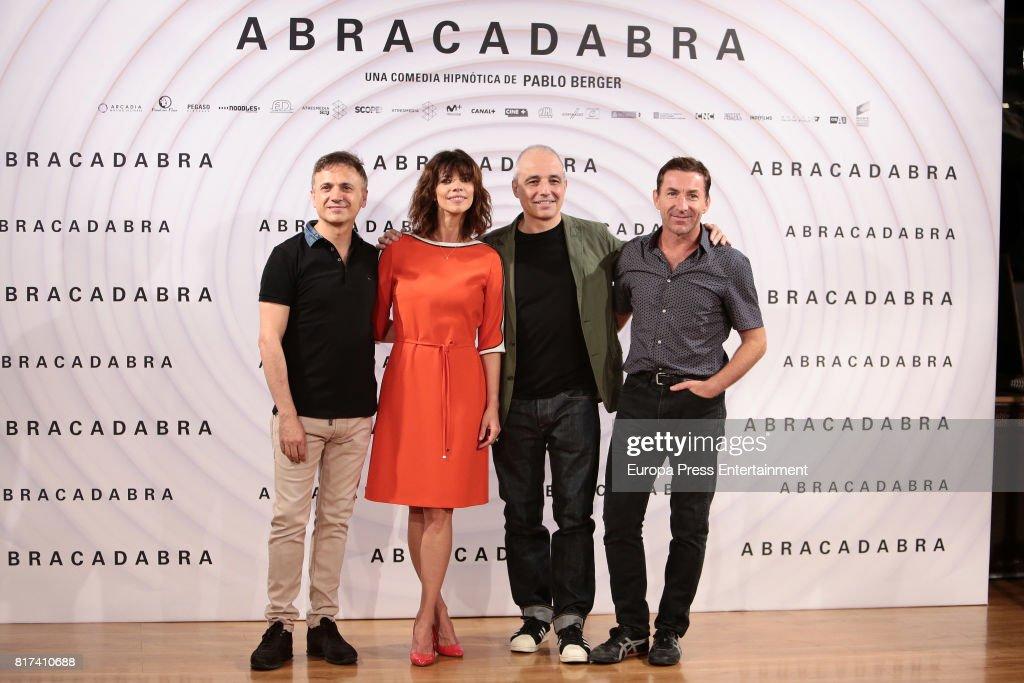 Jose Mota, Maribel Verdu, Pablo Berger and Antonio de la Torre attend 'Abracadabra' Madrid photocall on July 17, 2017 in Madrid, Spain.
