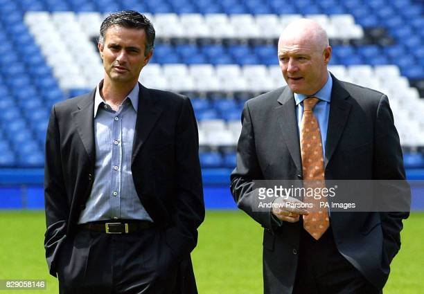 Jose Mourinho and Chief Executive Peter Kenyon at Chelsea's Stamford Bridge ground where he was officially unveiled as the west London club's new...