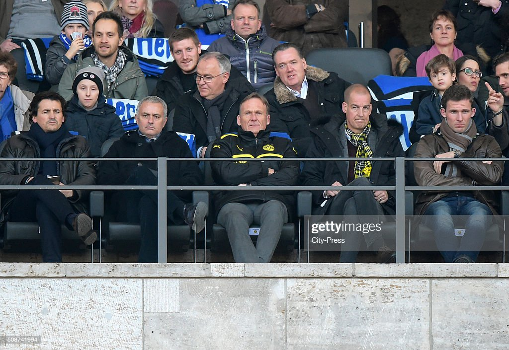 Jose Mourinho and Hans-Joachim Watzke of Borussia Dortmund during the game between Hertha BSC and Borussia Dortmund on February 6, 2016 in Berlin, Germany.