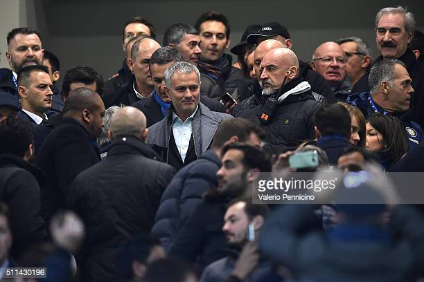 Jose Mourinho attends during the Serie A match between FC Internazionale Milano and UC Sampdoria at Stadio Giuseppe Meazza on February 20 2016 in...