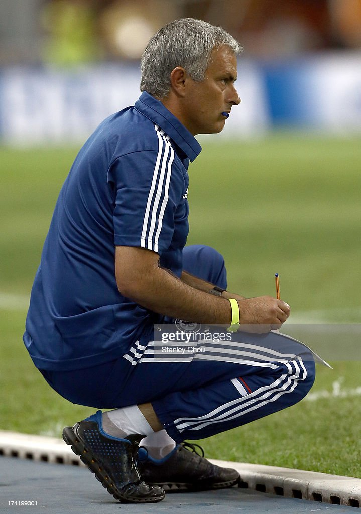 Jose Mourinho, coach of Chelsea looks on during the match between Chelsea and Malaysia XI on July 21, 2013 at the Shah Alam Stadium in Shah Alam, Kuala Lumpur, Malaysia.