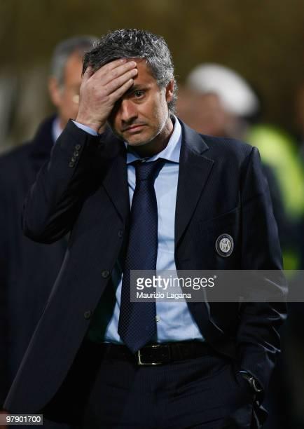 Jose' Mourinho coach of FC Internazionale Milano during the Serie A match between US Citta di Palermo and FC Internazionale Milano at Stadio Renzo...