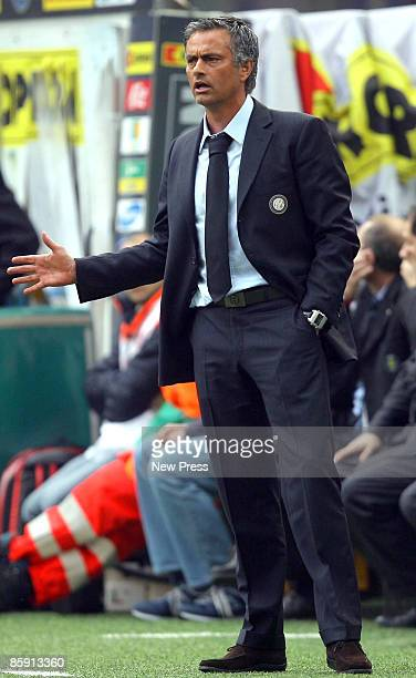 Jose Mourinho coach of Inter looks on during the Serie A match between Inter Milan and Citta di Palermo at the Stadio Meazza on April 11 2009 in...