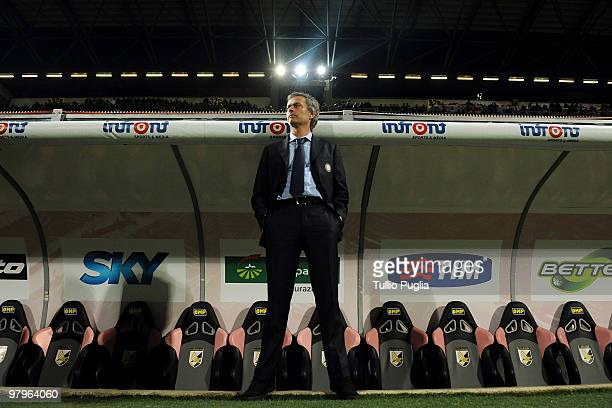Jose Mourinho coach of Internazionale Milano looks on before the Serie A match between US Citta di Palermo and FC Internazionale Milano at Stadio...