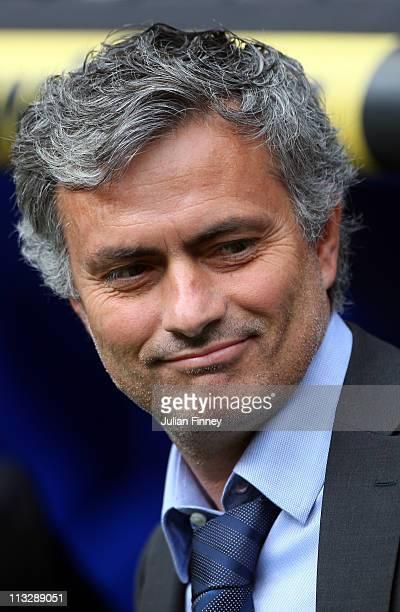 Jose Mourinho coach of Real Madrid looks on before the La Liga match between Real Madrid and Real Zaragoza at Estadio Santiago Bernabeu on April 30...