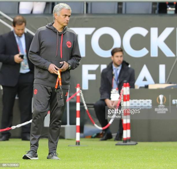 Jose Mourinho during a walk around The Friends Arena ahead of the UEFA Europa League Final between Ajax and Manchester United at Friends Arena on May...