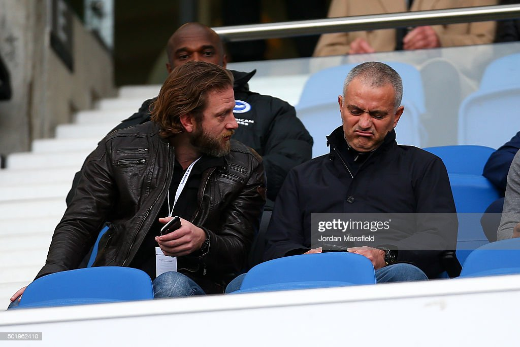 Jose Mourinho former manager of Chelsea watches on during the Sky Bet Championship match between Brighton and Hove Albion and Middlesbrough at The...