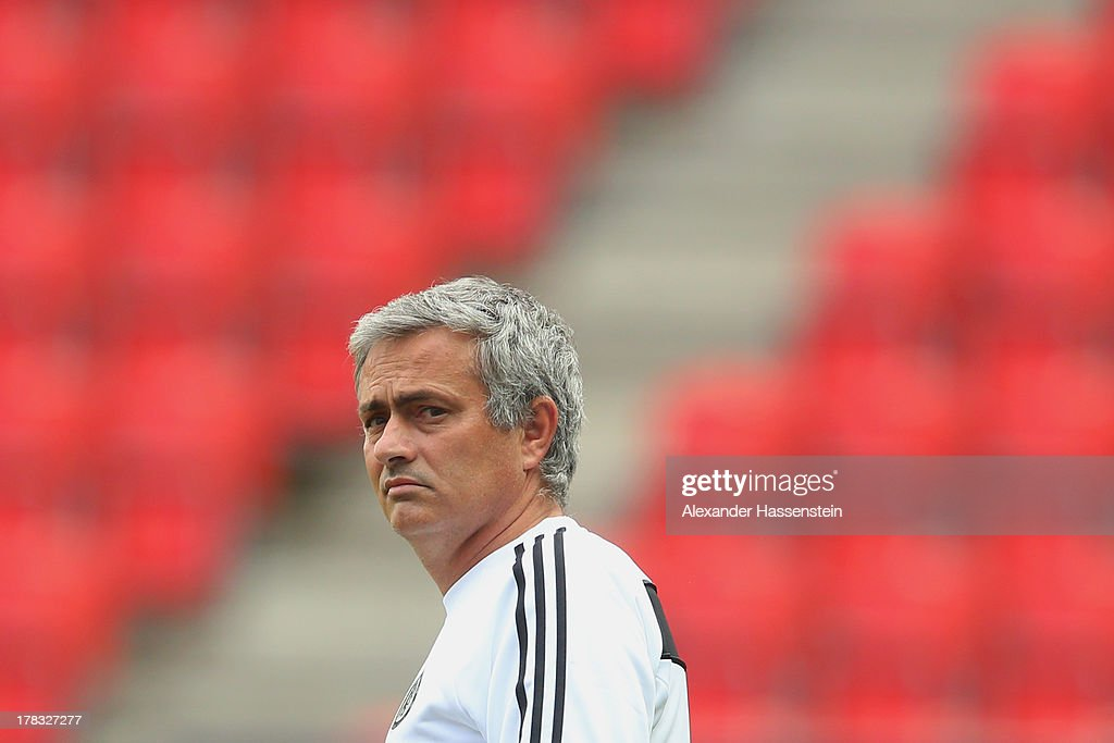 Jose Mourinho, head coach of Chelsea looks on during a training session prior the UEFA Super Cup finale match at Eden Arena on August 29, 2013 in Prague, Czech Republic. FC Bayern Muenchen will face Chelsea FC in the UEFA Super Cup Finale on the 30th of August.