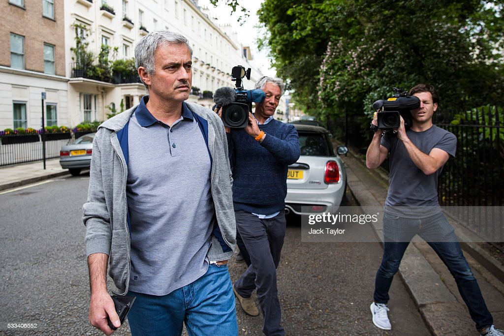 Jose Mourinho leaves his home on May 22, 2016 in London, England. Mourinho is rumoured to be in line to replace Louis van Gaal as manager of Manchester United.