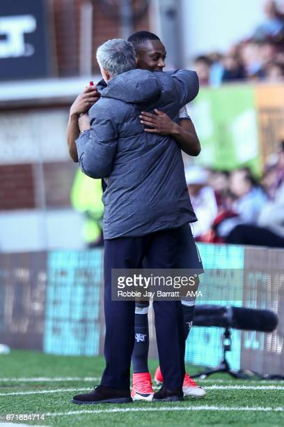 Jose Mourinho manager / head coach of Manchester United and Anthony Martial of Manchester United during the Premier League match between Burnley and...