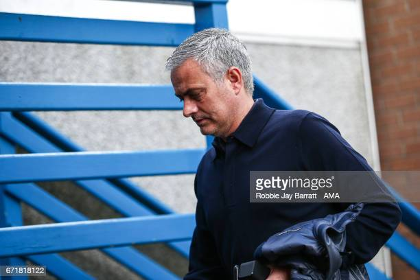 Jose Mourinho manager / head coach of Manchester United arrives prior to the Premier League match between Burnley and Manchester United at Turf Moor...