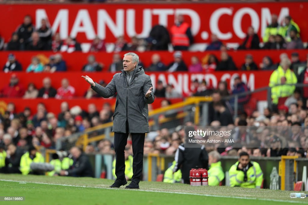Jose Mourinho manager / head coach of Manchester United during the Premier League match between Manchester United and West Bromwich Albion at Old Trafford on April 1, 2017 in Manchester, England.