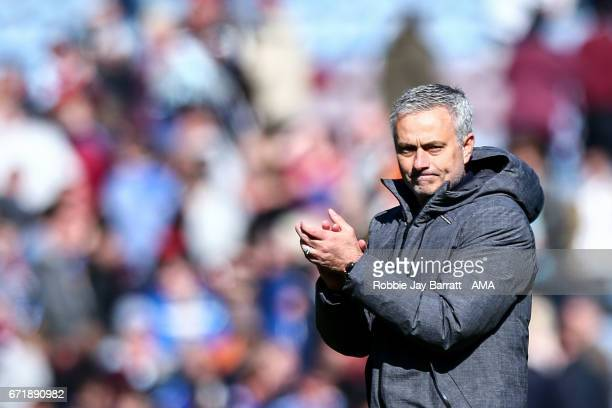 Jose Mourinho manager / head coach of Manchester United during the Premier League match between Burnley and Manchester United at Turf Moor on April...