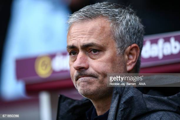 Jose Mourinho manager / head coach of Manchester United looks on during the Premier League match between Burnley and Manchester United at Turf Moor...