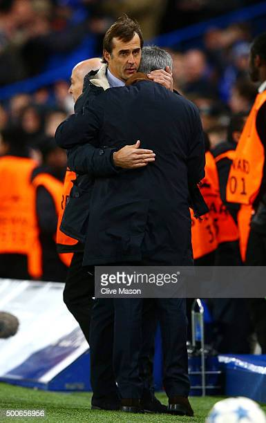 Jose Mourinho manager of Chelsea and Julen Lopetegui Manager of FC Porto after the UEFA Champions League Group G match between Chelsea FC and FC...