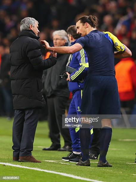 Jose Mourinho manager of Chelsea and Zlatan Ibrahimovic of Paris SaintGermain in discussion after the UEFA Champions League Round of 16 match between...