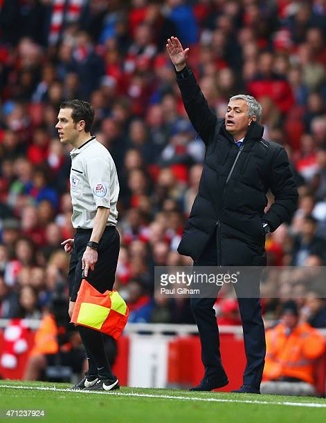 Jose Mourinho manager of Chelsea appeals during the Barclays Premier League match between Arsenal and Chelsea at Emirates Stadium on April 26 2015 in...
