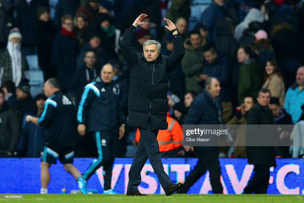 Jose Mourinho, manager of Chelsea celebrates victory after the Barclays Premier League match between Aston Villa and Chelsea at Villa Park on February 7, 2015 in Birmingham, England.
