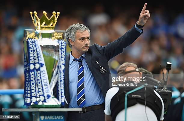 Jose Mourinho manager of Chelsea celebrates winning the Premier League title after the Barclays Premier League match between Chelsea and Sunderland...