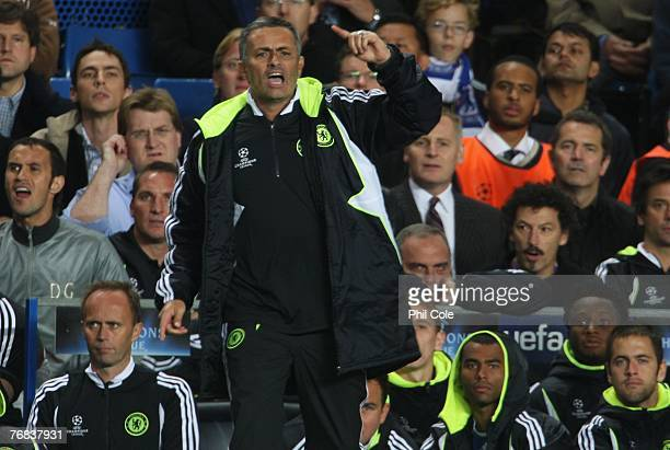 Jose Mourinho manager of Chelsea gestures from the bench during the UEFA Champions League Group B match between Chelsea and Rosenborg at Stamford...
