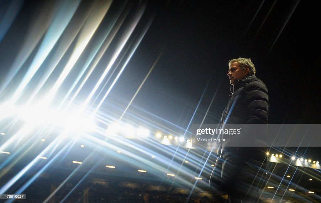 Jose Mourinho manager of Chelsea looks on during the Barclays Premier League match between Aston Villa and Chelsea at Villa Park on March 15, 2014 in Birmingham, England.