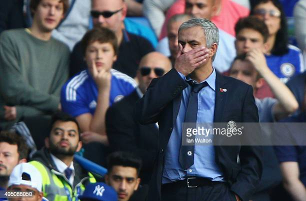 Jose Mourinho Manager of Chelsea looks on during the Barclays Premier League match between Chelsea and Liverpool at Stamford Bridge on October 31...