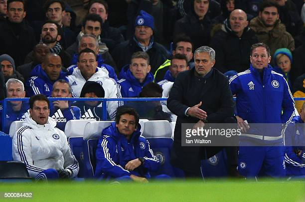 Jose Mourinho Manager of Chelsea looks on during the Barclays Premier League match between Chelsea and AFC Bournemouth at Stamford Bridge on December...