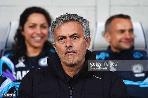Jose Mourinho manager of Chelsea looks on from the bench prior to the Barclays Premier League match between West Bromwich Albion and Chelsea at The...