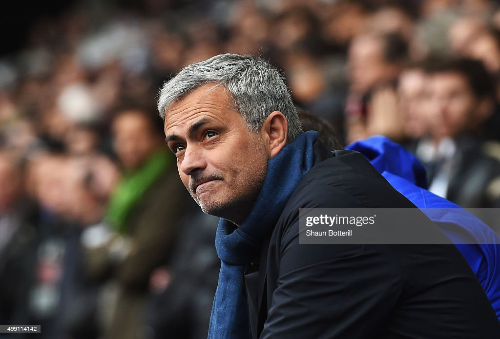 Jose Mourinho manager of Chelsea looks on prior to the Barclays Premier League match between Tottenham Hotspur and Chelsea at White Hart Lane on November 29, 2015 in London, England.